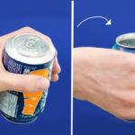 Jak zmusić klienta dozamieszania napojem? Umieścić otwór naspodzie puszki.